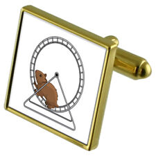 Hamster On A Wheel Gold-Tone Cufflinks Crystal Tie Clip Gift Set