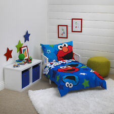Sesame Street 4pc Toddler Crib Bedding Set Elmo Cookie Monster Awesome Buds Cute