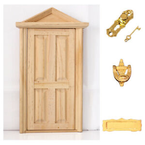 Natural Outward Open Wooden Fairy Front Door w Hardware Doll House Miniature