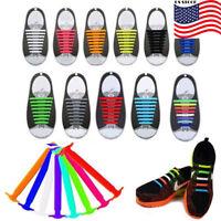US 32pcs Easy No Tie Elastic Shoe Laces Trainers Adult Shoelaces 100% Silicone