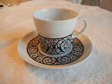Noritake Younger Image Esperanza Cup and Saucer 6924 White Black Scrolls