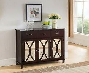 Espresso Wooden Buffet Server Sideboard Mirror Storage Cabinet China Cupboard