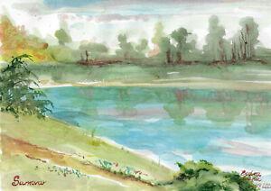 original painting A4 24BS art samovar watercolor landscape Signed 2021