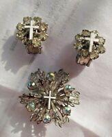 Vintage 50's Clip Earrings + Scatter Brooch Set AB Rhinestone White Crosses