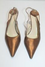 Women's Faconnable Bronze Metallic Slingback Pump Leather Heels EUC Size 7 M