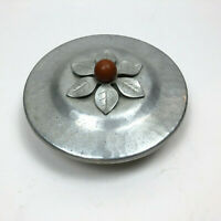 Hammered Aluminum Lidded Bowl Floral Flower Gray Metal Covered Candy Dish VTG