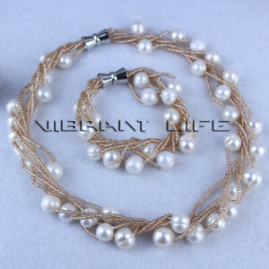 """18""""/8"""" 10-12mm White Freshwater Pearl Champagne Bead 6Row Necklace Bracelet Set"""