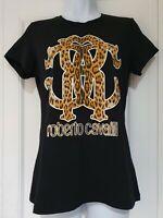 Womens Roberto Cavalli Black Animal Leopard Print Logo T Shirt Medium New.