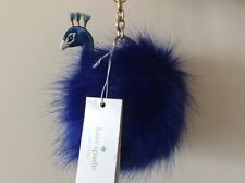 kate spade Fluffy Blue Peacock Pom Pom keyring Bag Charm Key Fob