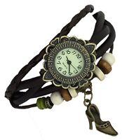 SHOE Quartz Fashion Weave Wrap around Leather Bracelet Women Wrist Watch