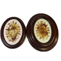 Vintage 2 Oval Framed Pressed Dried Flowers Boho MCM Wall Art Hanging Pair