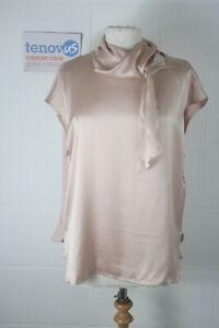 WG897D  Mint Velvet Blossom Tie Neck Silk Tee Size 18