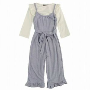 Pippa & Julie Girl's Jumpsuit Blue Size 6 Tie-Front Smocked Back Ruffled- 322