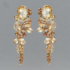 18K Gold Plated GP Topaz Crystal Rhinestone Wedding Drop Dangle Earrings 577 New