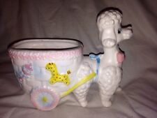 Vintage baby Poodle and cart flower planter made in Japan - pastel colors