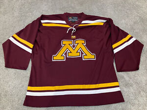 MINNESOTA GOLDEN GOPHERS Men Maroon Stitched Collar Tie Hockey Jersey XL Easton
