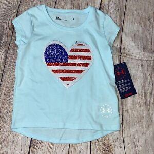 Under Armour 4 5 6 6x Freedom Flip Sequin Flag Short Sleee Tee Shirt NEW