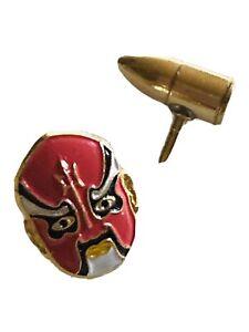 Vintage Tie Tacs Or Lapel Pin Bullet & Devil Excellent Condition