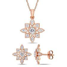 Amour 10k Rose Gold Diamond Artisanal Star Necklace & Stud Earrings Set