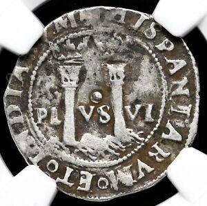 MEXICO. Carlos & Joanna, 1542-1555, Silver Real, NGC VF30