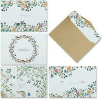 Thank You Cards - 4 Design of 40 Blank Thank U Greeting Notes Card with Envelope