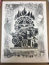 OBEY GIANT SHEPARD FAIREY FLAMES OFFSET S&N/400 B/W DAMAGED SHOW