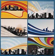 Collection Set of 6 New Glossy City Skyline, Modern Grunge Art Wave Design 87K