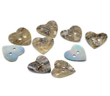 "Lot of 10 HEART MOTHER OF PEARL 2-hole Shell Buttons 5/8"" (0476) Craft Scrapbook"