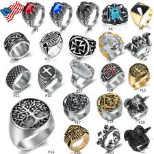 Fashion Mens Biker Ring Heavy Stainless Steel Gothic Punk Finger Band Jewelry