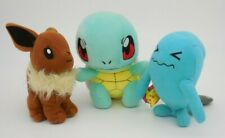 "3 Pokemon Plush Toys 5"" EEVEE, 6"" SQUIRTLE, 5"" WOBBUFFET 2007 Nintendo Dolls"