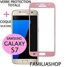 Tempered Glass Window Pink Film Integral Total Samsung Galaxy S7 + Silicone