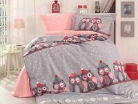 100% Organic Cotton 590TC Quilt / Doona / Duvet Cover Set Owl Grey Single