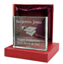 Personalised Medium Jade Glass Block, Engraved Happy Graduation, With Gift Box