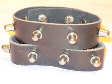 Nos 2 Black Leather Industrial Knob Cone Metal Studded Bracelets Wristband Cuffs