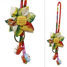 Porte-clés ou bijou  de sac tissu à motifs FLEUR coton BEIGE JAUNE VERT ROUGE