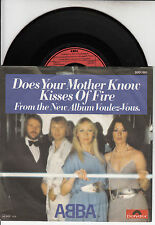 """ABBA Does Your Mother Know & Kisses Of Fire PICTURE SLEEVE 7"""" 45 rpm record NEW"""