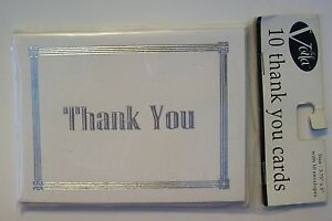 THANK YOU CARDS~NOTES~All Purpose~Silver/White~Wedding~Shower~Sealed Pkg of 10