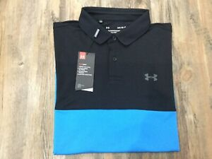 Mens Under Armour Performance Blocked Textured Polo Large RRP £40