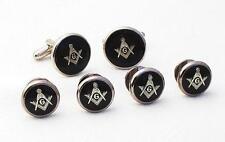 NEW Retail Masonic Black Silver Cufflinks Studs Mason boxed Cuff links FREE SHIP