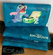 Disney Lilo & Stitch Wallet Trifold Hibiscus Scrump Record Player PU Leather NWT