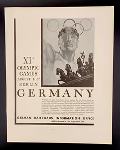 Original 1936 Berlin, Germany Olympic Games Ad by German Railroad Office