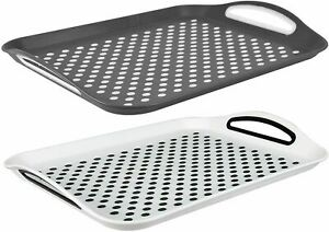 2x Serving Tray Plastic Rubber Grip Surface Non-Slip Pad Serve Food Dinner Drink