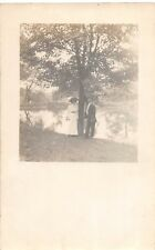D12/ Lancaster Ohio Postcard Real Photo RPPC Man Woman Lake Fairfield County