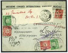 DBY103 1937 FRANCE Medical Congress Forwarded Unpaid/American Express London