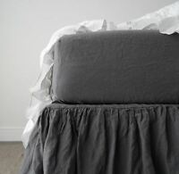 Linen sheets , fitted linen sheet , stonewashed made by mooshop