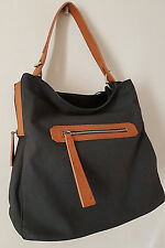 Italian Women's Ladies Black Faux Leather Slouch Large  Handbag Bag