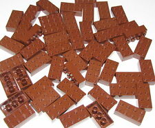 LEGO LOT OF 50 NEW REDDISH BROWN 2 X 4 DOT BRICKS BUILDING BLOCKS PIECES PARTS
