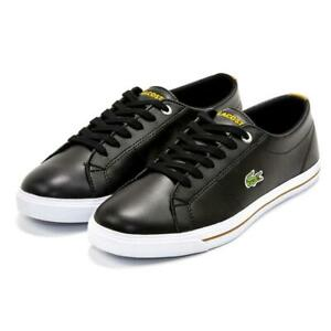 Boys Kids Lacoste Riberac 418 Black Lace Up Sneaker Casual Size 6 Shoes NEW