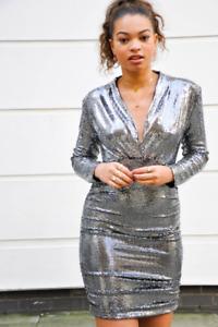 John Zack  Sequin  Dress  Plunge V Neck  silver