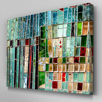 AB962 Modern green mosaic glass Canvas Wall Art Abstract Picture Large Print